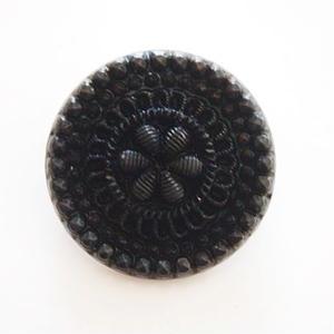 【gb-0007】ビンテージ◆チェコ ブラック×フラワーボタン