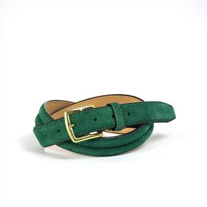 ANNAK ベロア×ヌメ デザイン盛り上げ手縫い止ベルト グリーン AK15SP-C0008