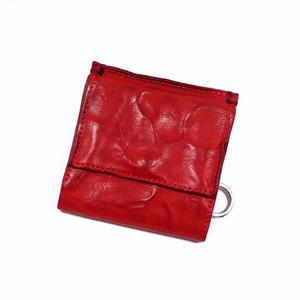 ANNAK ウォッシュ外小銭リング付変形3つ折り財布 レッド AK7TA-B7002
