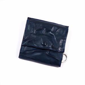 ANNAK ウォッシュ外小銭リング付変形3つ折り財布 ネイビー AK7TA-B7002