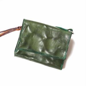 ANNAK ウォッシュフラップ付2つ折り蛇腹財布 グリーン AK8TA-B8010