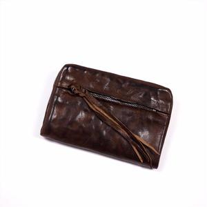 ANNAK ウォッシュ袋縫いソフト2つ折り財布 ダークブラウン AK12TA-B0025