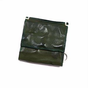 ANNAK ウォッシュ外小銭リング付変形3つ折り財布 グリーン AK7TA-B7002