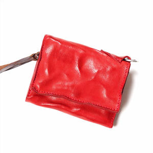ANNAK ウォッシュフラップ付2つ折り蛇腹財布 レッド AK8TA-B8010