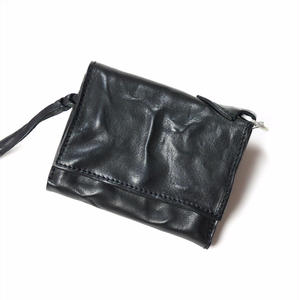 ANNAK ウォッシュフラップ付2つ折り蛇腹財布 ブラック AK8TA-B8010