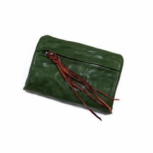 ANNAK ウォッシュ袋縫いソフト2つ折り財布 グリーン AK12TA-B0025