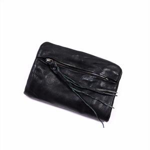 ANNAK ウォッシュ袋縫いソフト2つ折り財布 ブラック AK12TA-B0025
