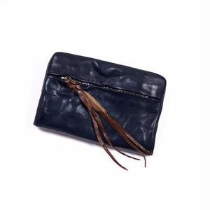 ANNAK ウォッシュ袋縫いソフト2つ折り財布 ネイビー AK12TA-B0025