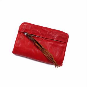 ANNAK ウォッシュ袋縫いソフト2つ折り財布 レッド AK12TA-B0025