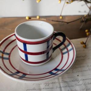 フランスアンティーク カップ&ソーサー バスク柄 A