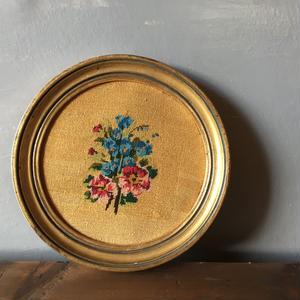 フランスアンティーク 刺繍 プチポワン 小花