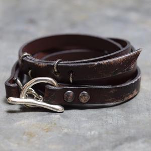"""ダメージド エッジ レザーブレス【ダークブラウン】""""edge leather bracelet(darkbrown)"""""""