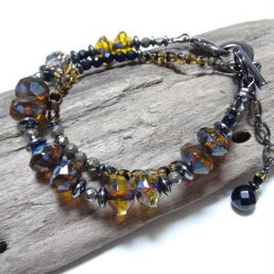 """アルクス チェコガラス デュアルコネクトブレス <イエロー> """"ARCUS czech glass dualconnect bracelet(yellow)"""""""