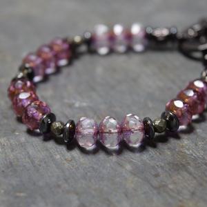 """アルクス チェコガラス ブレス〈ダークピンク〉""""ARCUS czech glass bracelet(DARKPINK)"""""""