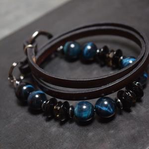 タイガーアイ レザーラップ ブレス〈ヴィリジアン〉TIGEREYE leather wrapbracelet(VIRIDIAN)
