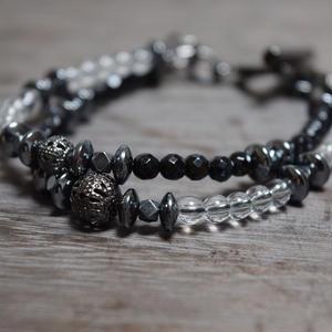 """オニキス&クリスタル ジェミニ ブレス""""ONYX&CRYSTAL gemini bracelet"""""""