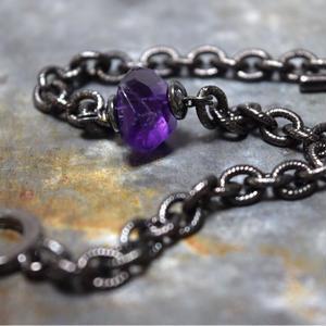 """アメジスト ラージタンブル チェーンブレス2""""AMETHYST large tamble chain bracelet2"""""""