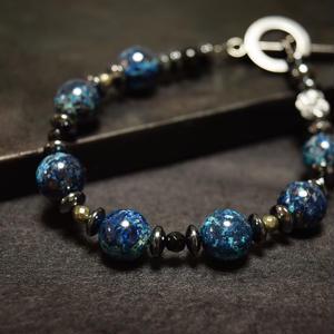 """クリソコラ AAA 10mm スピーナブレス""""CHRYSOCOLLA AAA 10mm spina bracelet"""""""