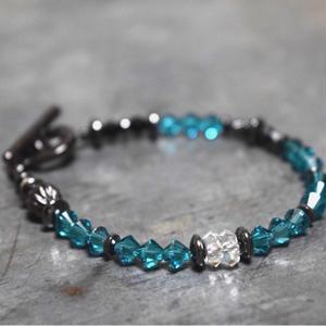 """スワロフスキー シングル ブレス[アクアブルー]""""swarovski single bracelet(AQUABLUE)"""""""