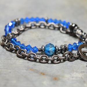 """スワロフスキー  ラップ チェーンブレス<ブルー>""""swarovski wrap chain bracelet<BLUE>"""""""
