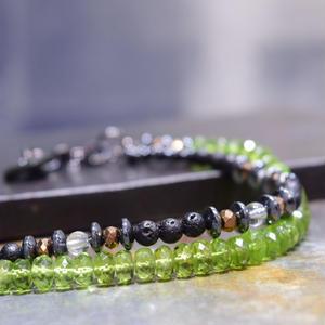 """ペリドット&ラヴァ レイヤーブレス""""PERIDOT&LAVA layer bracelet"""""""