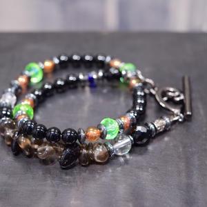 """オニキス&スモーキークォーツ  イロコイラップブレス""""ONYX&SMORKYQUARTZ iroquois wrap bracelet"""""""