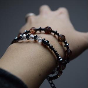 """アルクス チェコガラス ダブルレイヤーブレス〈ブラウン〉''ARCUS czech glass double layer bracelet(BROWN)"""""""