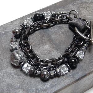 スティブナイトインクォーツ 12mm チェーンブレス  ''STIBNITEinQUARTZ 12mm chain bracelet''