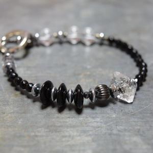 """【Lsize】オニキス&ハーキマー シングルブレス""""ONYX&HERKIMER single bracelet"""""""