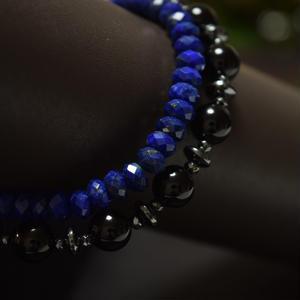 """オニキス スピーナ& ラピスラズリ ラップ ブレス""""ONYX spina LAPISLAZULI wrap bracelet"""""""