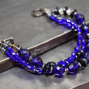 """アルクス チェコガラス トリプルレイヤーブレス[ダークブルー]""""ARCUS czechglass triple layer bracelet[DARKBLUE ]"""""""