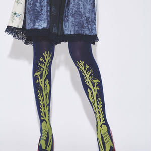 Slender tree and animals Tights (Navy - 80D)