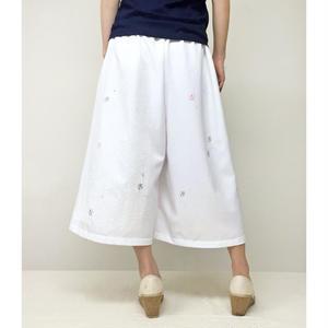 """Wide Pants """"Luminous Jellyfish"""" White 白 (蓄光インク使用)"""