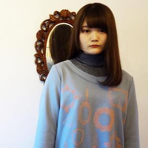 鏡柄のウールワンピース ブルーグレー Blue-gray