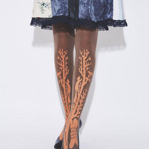 Slender tree and animals Tights (Brown - 80D)