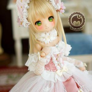 MDDドール服 ミニドルフィードリーム ウエディングドレス(ピンク)