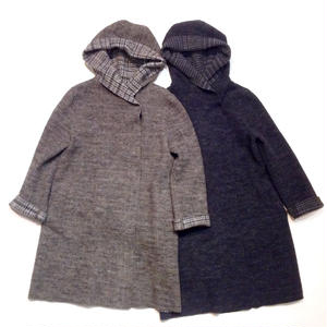 HARRIS WHARF LONDON women hooded mantle carded tweed wool