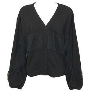 Sweat Tulle Frill Cardigan (Black)