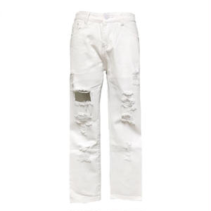 Cropped Damage Denim Pants