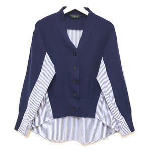 Stripe Shirt Docking Cardigan (Navy)