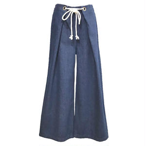 Tuck Flare Wide Denim Pants (Navy)
