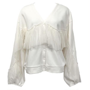 Sweat Tulle Frill Cardigan (White)