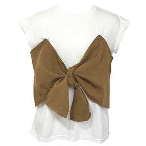 Ribbon Bustier Docking T-shirt (Brown)
