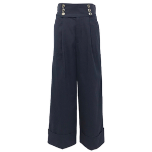 Cotton Cuff Wide Pants (Navy)