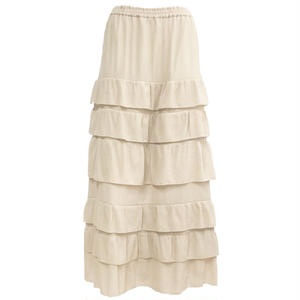 Tiered Long Skirt (Beige)