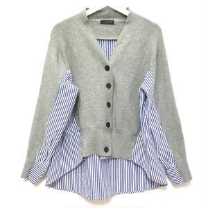 Stripe Shirt Docking Cardigan (Gray)