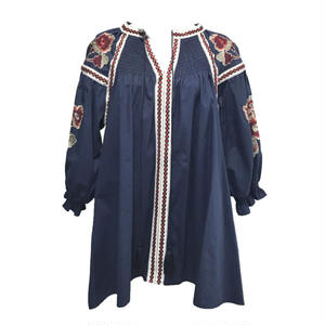 Bohemian Embroidery Shirring Blouse