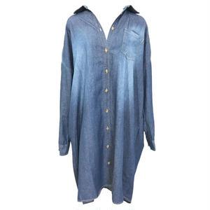 Over Size Denim Long Shirt One-piece
