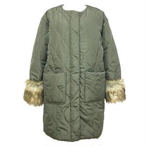 2way Fur Sleeve Quilting Coat