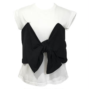 Ribbon Bustier Docking T-shirt (Black)